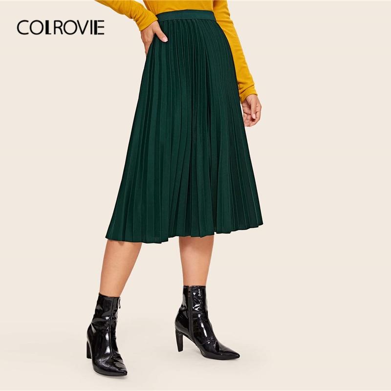 COLROVIE Solid Elastic Waist Pleated Skirt Women Pleated Long Skirt 2020 Spring Casual High Waist Elegant Ladies Skirts