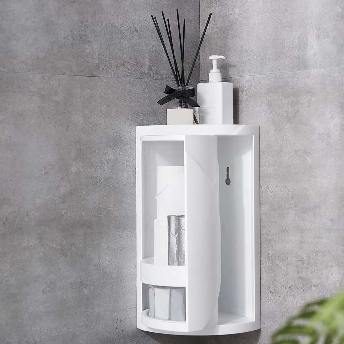 Rotatable Bathroom Shelf Plastic Triangle Storage Rack Wall-absorbing Cosmetic Storage Box Free Punching Bathroom Accessories