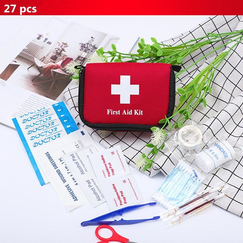 11 Items/27pcs Portable Travel First Aid Kit Outdoor Camping Emergency Medical Bag Bandage Band Aid Survival Kits Self Defense(China)