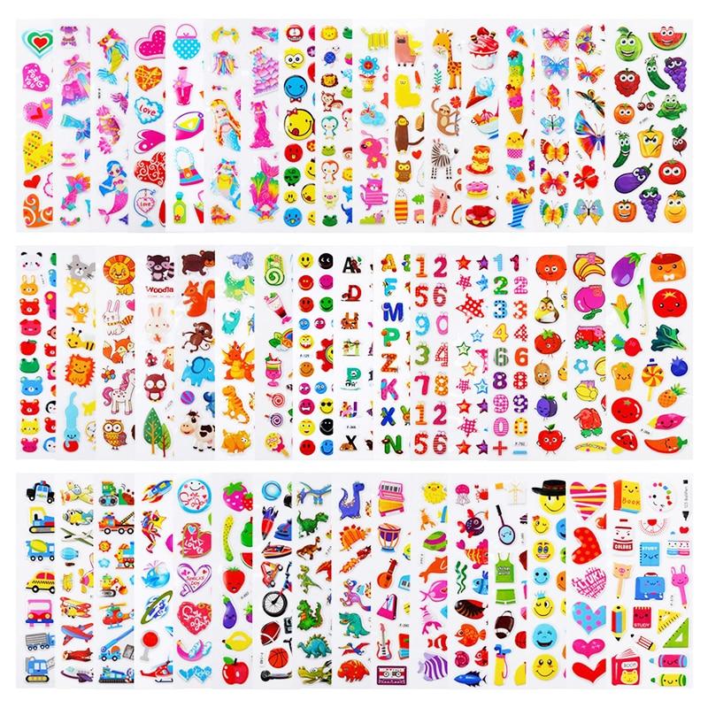 20 8 Sheets/lot Kids Stickers 3D Puffy Bulk Cartoon Zoo Animal Princess Stickers for Girl Boy Birthday Gift DIY Children Toys