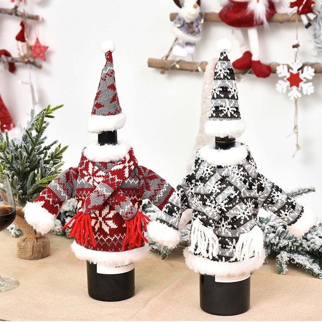 Christmas home decorations Christmas Decorations Mini Cute Knitted Fabric Dress Suit Wine Bottle Cover boże narodzenie navidad 5