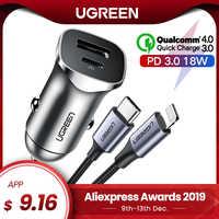 Ugreen carga rápida 4.0 3.0 qc usb carregador de carro para xiaomi qc4.0 qc3.0 18 w tipo c pd carro de carregamento para iphone 11 x xs 8 pd carregador