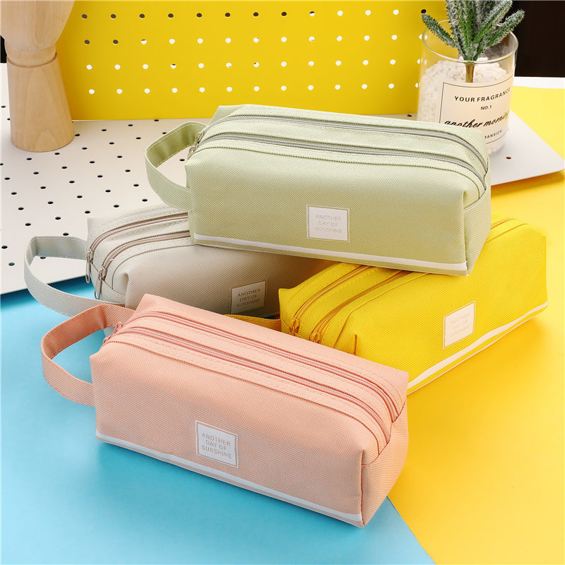 Pencil Cases Bags Pouch Pen-Box Stationary-Supplies Fabric Office Colorful Large-Capacity