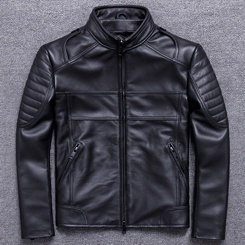 2020 New Real Genuine Leather Jacket Men Biker Motorcycle Cow Leather Jackets Spring Autumn Cowhide Leather Coat 1820 KJ3211