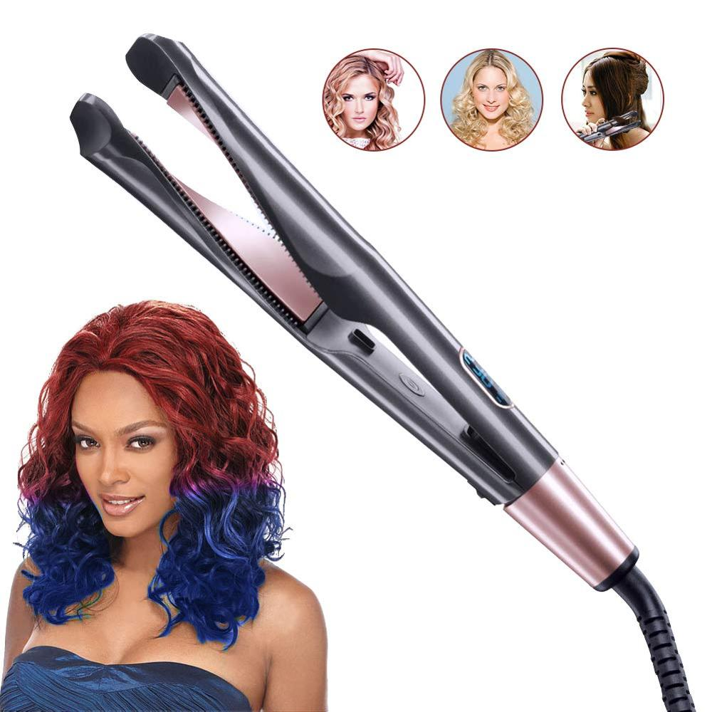2 in 1 Curling Iron and Flat Iron Hair Curler Twist Hair Iron Straightener Ceramic Curling Tongs Hair Crimper Styling Tool image