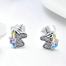 Fashion Ladies Party Stud Earrings Birthday Gift For girls Women Earrings Classic Unicorn Silver Plated Alloy ear Stud