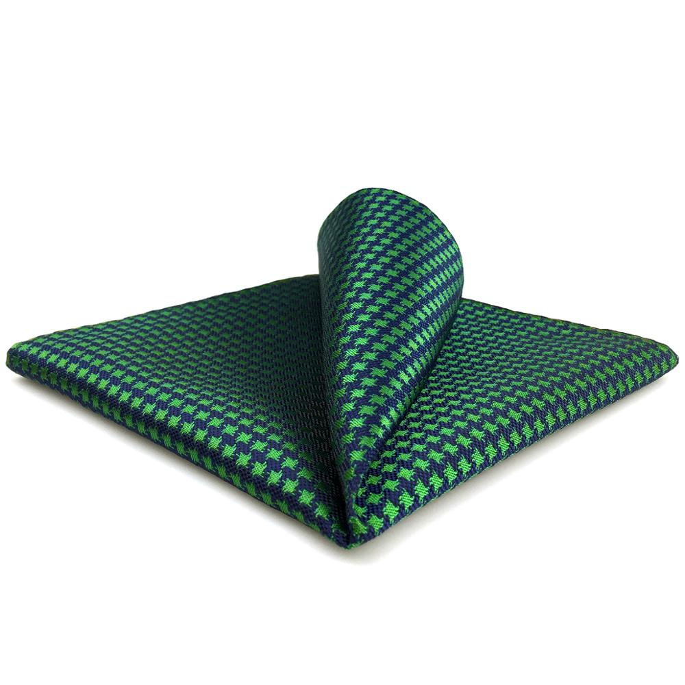 FH24 Green Blue Houndstooth Mens Pocket Square Handkerchief Classic Wedding Hanky