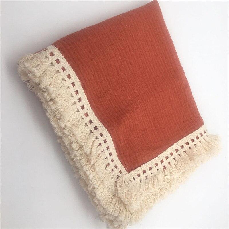 Cotton Tassel Baby Swaddle Wraps Infant Stroller Cover Muslin Swaddle Blankets Newborn Blanket Bath Gauze Muslin Quilt
