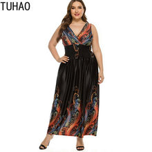 TUHAO Women Bohemian Dresses Plus Size 5XL 4XL 3XL Middle Age Mother Mom Large Size Long Vintage Dress Retro Clothing WM10(China)
