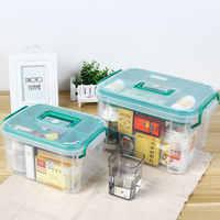 Caixa de primeiros socorros grande multi-layered casa kit medicina médica saudável plástico caixa transparente