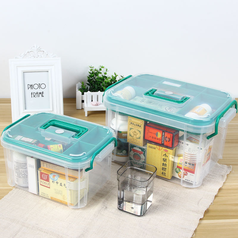 First Aid Box Large Multi-Layered Home Kit Healthy Medical Medicine Plastic Medicine Transparent Box