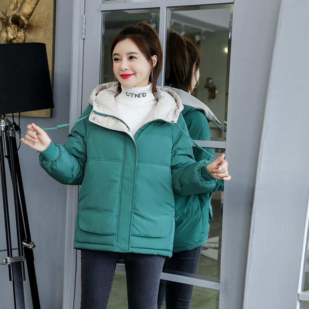 Women Winter Jacket Loose   Parkas   Patchwork Thickening Warm Coat Hooded Female Down Cotton-padded Short Jacket Coat