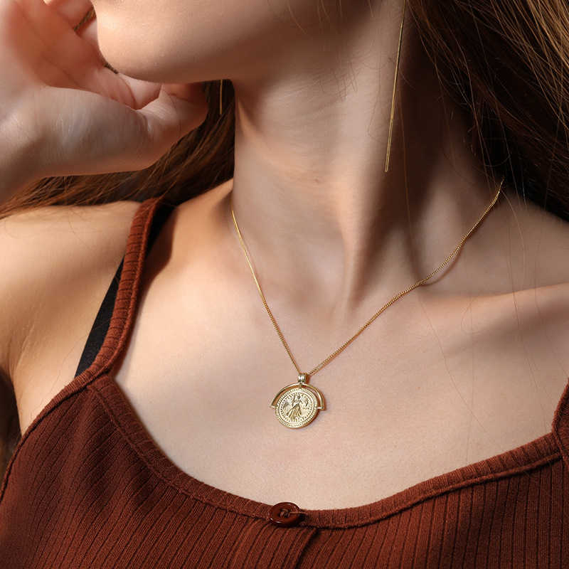 Złota moneta naszyjnik 100% 925 Sterling Silver wykonane złoty wisiorek kobiety moda naszyjnik prezent dla przyjaciółki DS1568