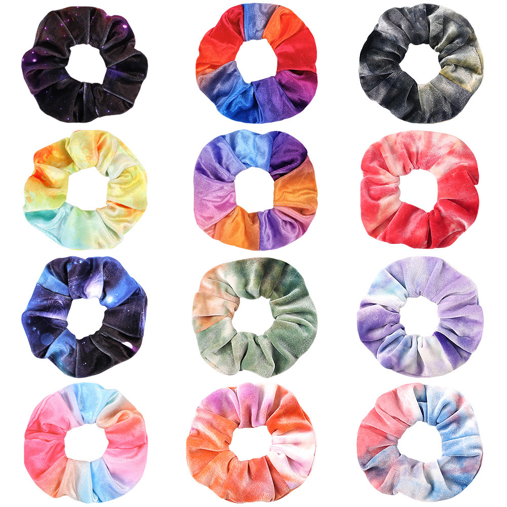 Big Sale On Black Friday Velvet Tie Dye Hair Scrunchies For Women