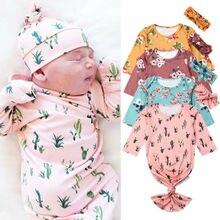 PUDCOCO новорожденных девочек мальчиков пеленки с цветами одеяла спальные мешок пеленать муслиновая пеленка+ повязка на голову комплект