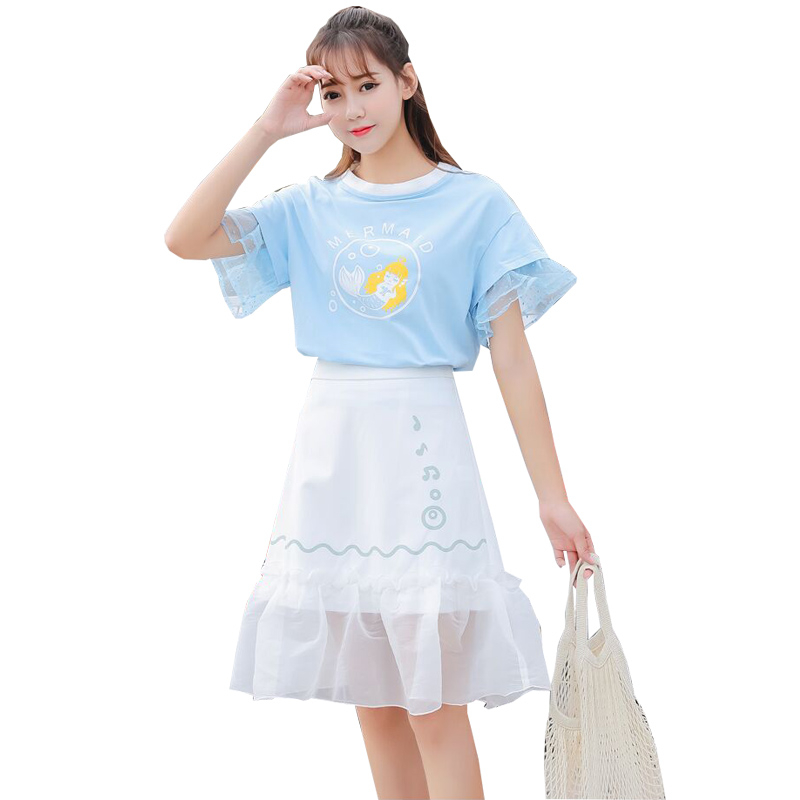 MERRY PRETTY Womens T Shirt And Skirt Two Piece Sets Cartoon Print Short Sleeve T Shirts Elastic Waist Lace Patchwork Mini Skirt