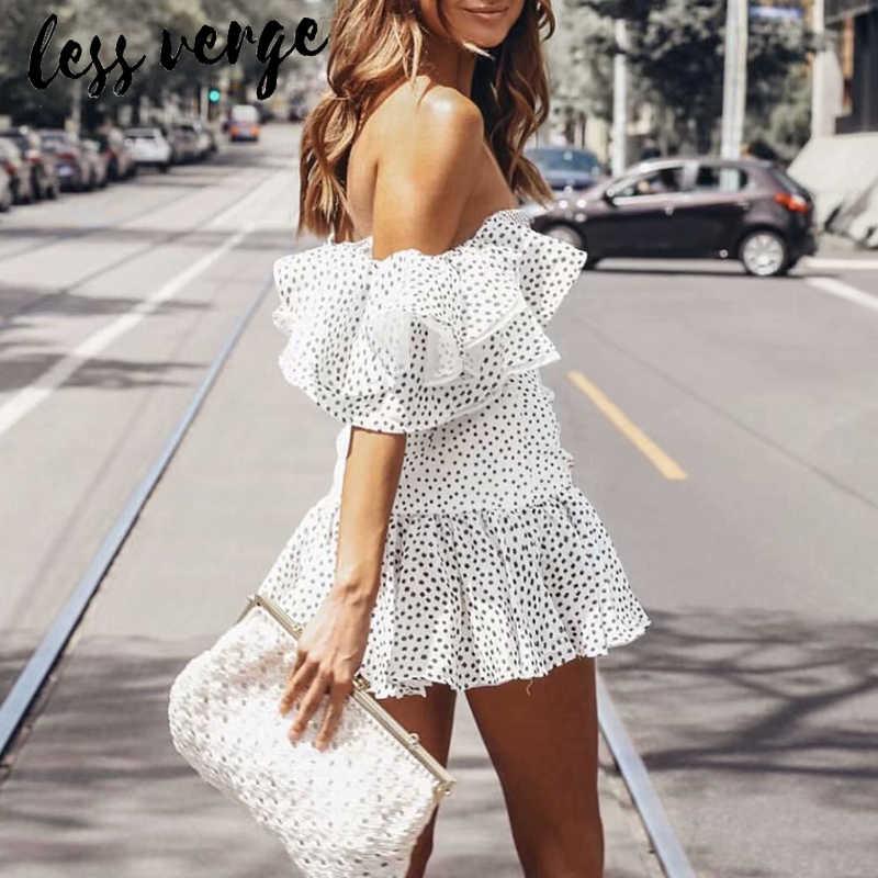 Lessverge, белое Сетчатое летнее платье с оборками, сексуальный шифоновый с открытыми плечами, вечернее платье, женская элегантная пляжная одежда в стиле бохо, femme