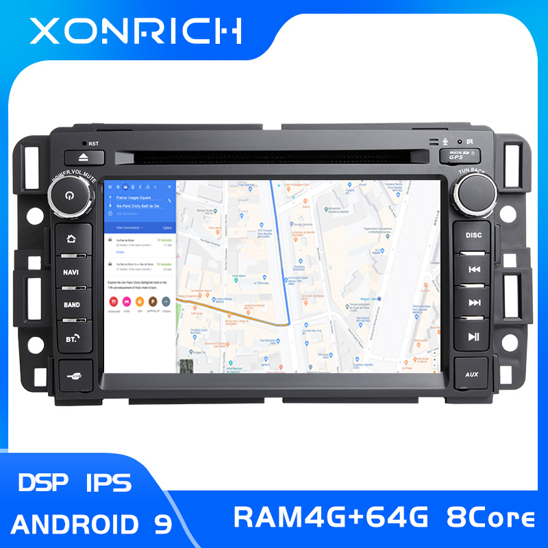 4GB DSP 1Din GPS Radio Android 9.0 voiture lecteur DVD pour GMC Sierra Yukon Denali Acadia Savana Chevrolet Express Traverse EquinoxCD