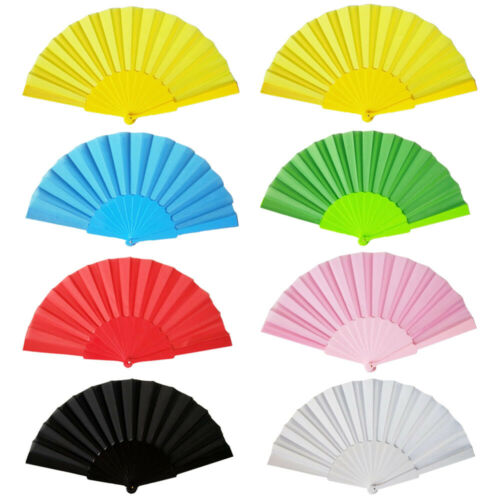 Plastic Portable Party Hand Dancing Fan Chinese Decor Japanese Wedding Folding Low Key Gift Simple Solid MultiColour 1 Pc