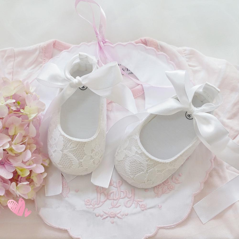 Dollbling White Lace Christening Baby Shoes Perfect Baptism Back Strap Long Tail Ribbon Shoes Ballet Little Girls First Walkers