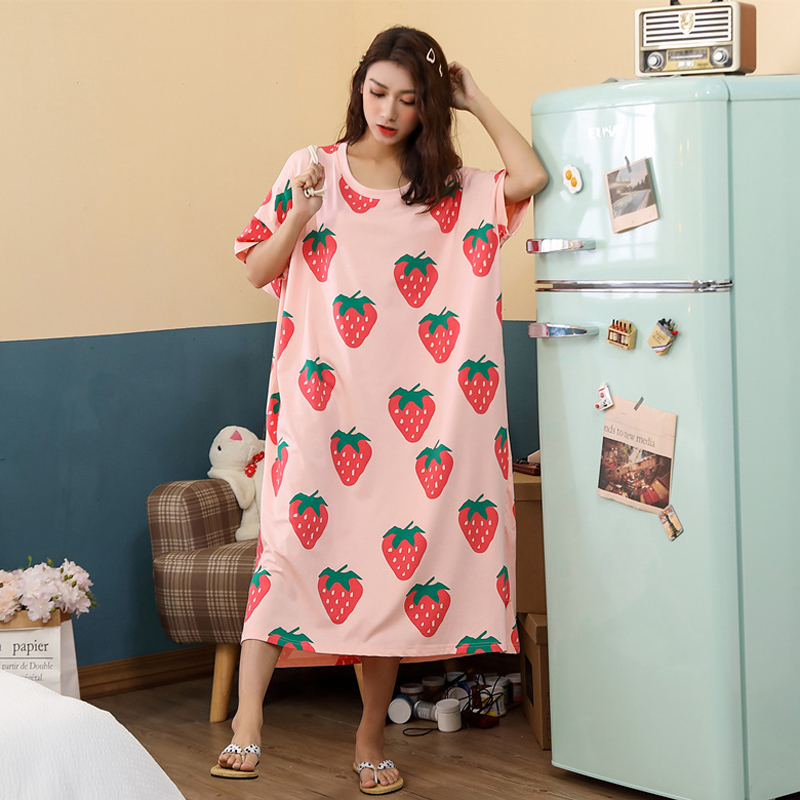 Oversized Summer Loose Women Cartoon Sleepwear Leisure Short Sleeve Thin Nightgowns Printing Fruits Big Size Nightdress