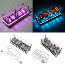 New IN-12 Glow Tube Clock 7Color RGB DS3231 IN12 Nixie Tube Clock Steampunk Decor
