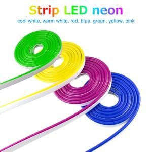 Image 3 - LED Streifen Flexible Neon Licht 12V Wasserdicht Luces Led Band Seil Dimmen Flex Rohr Band Zimmer Warm Weiß Gelb rot Grün Blau