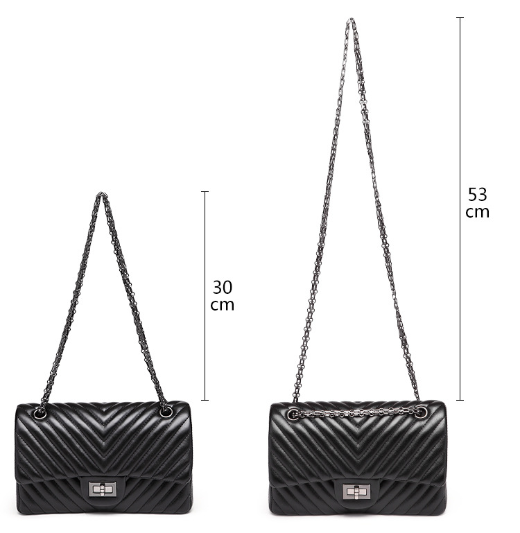 2019 Fashion Quilted Leather Chain Handbag Womens Luxury Shoulder Bags Branded Famous Black Double Flap Crossbody Bag for Women (12)