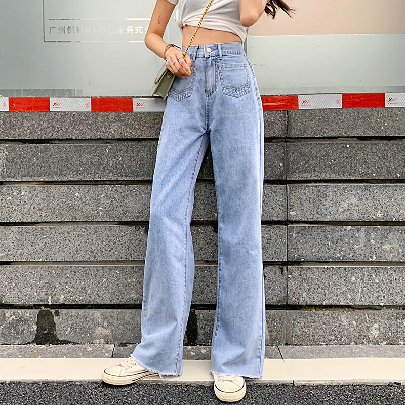 High Waist Loose Raw Hem Wide Leg Straight Jeans for Women XXS XS S M L XL