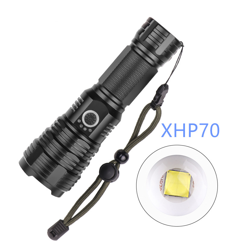 Powerful XHP70.2 LED Flashlight Tactical LED Torch Waterproof Outdoor Portable Lighting Up To 4300 Lumens Output Camping Light