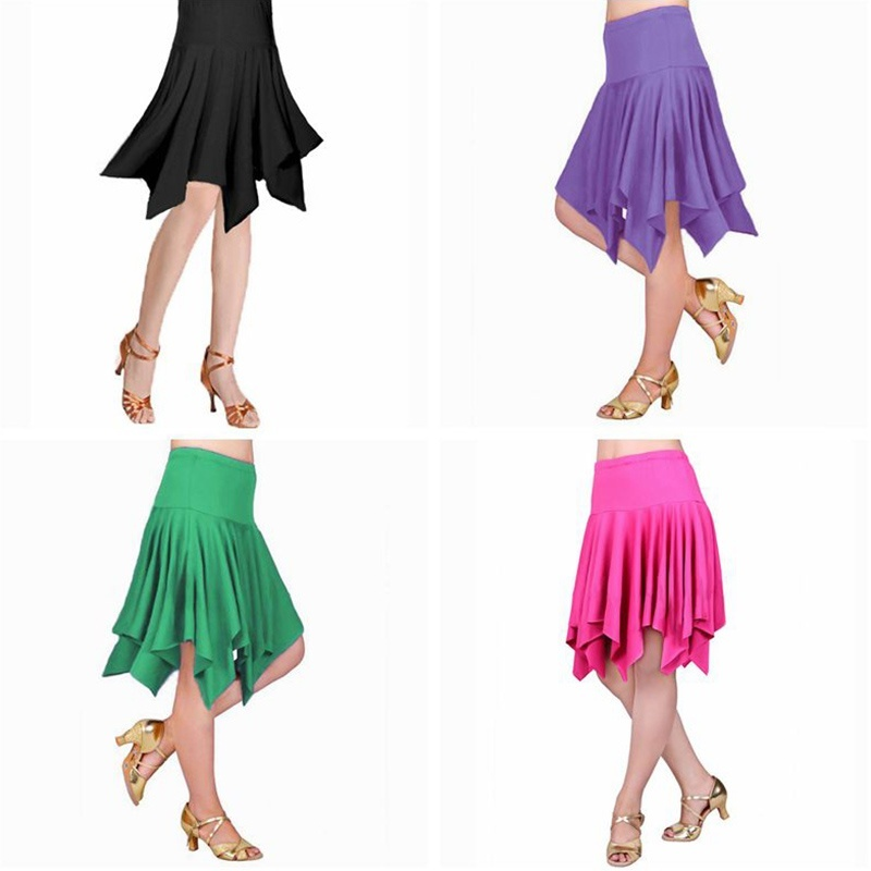 Women Ladies Latin Salsa Tango Rumba Cha Cha Pleated Skirt Dancewear Asymmetric Ballroom Dance Skirt Multicolor 903-B253