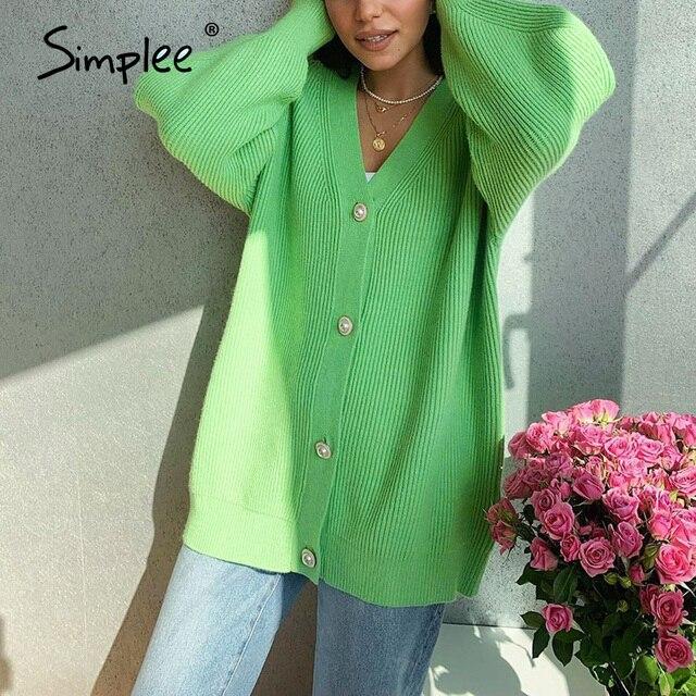 Повседневный длинный вязаный  свободный свитер на пуговицах с рукавами-фонариками 5