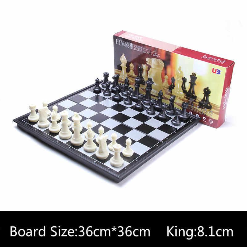 Складной магнитный Набор с шахматной доской для путешествий на открытом воздухе, шахматы, нарды, игрушки для детей, интеллектуальное развитие, Обучающие шахматы, подарок