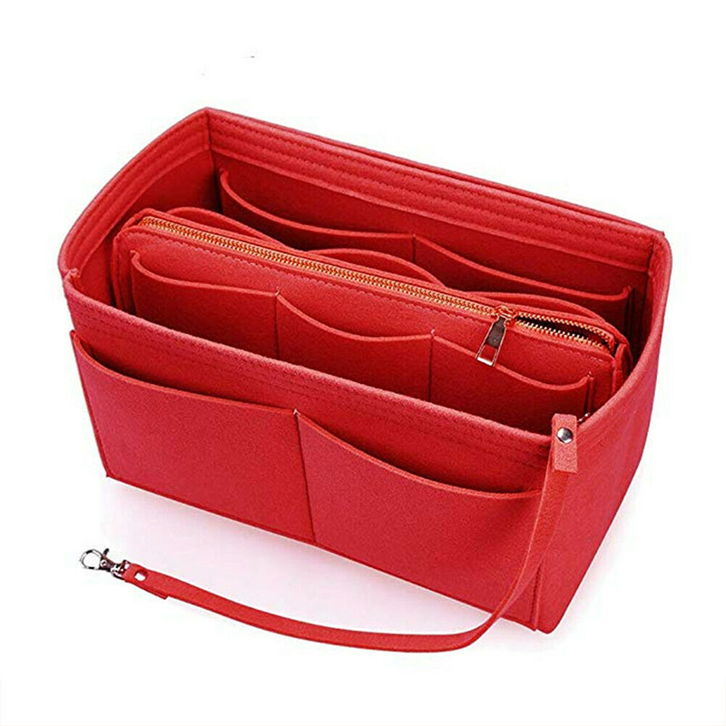 New Style Felt Purse Insert Organizer Portable Cosmetic Bag Fit For Handbag Tote Various Bag
