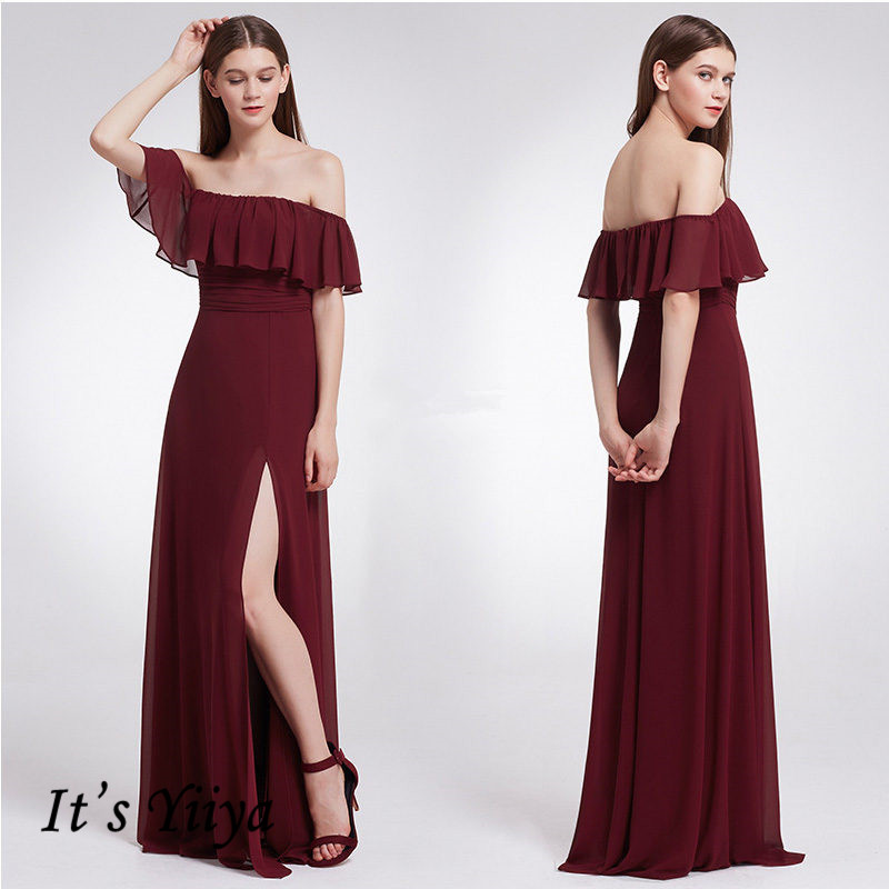 It's Yiiya Formal Dress Boat Neck Ruffles Plus Size Solid Women Party Dresses Off The Shoulder Ruched A-Line Robe De Soiree C417