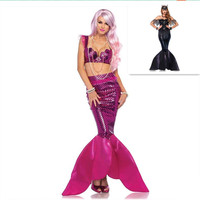 Halloween new adult mermaid princess dress Cosplay stage performance fashion black evening dress