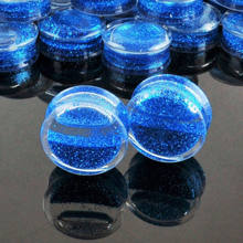 1pc Glitter Liquid Acrylic Ear Plugs Double Saddle Flared Fesh Tunnels Earring Gauges Stretcher Expanders Piercing Body Jewelry(China)