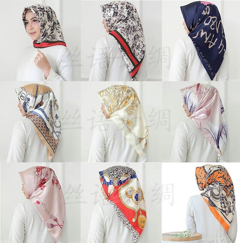 90*90cm Muslim Silk Scarf Hijab Women Islamic Headscarf Malaysia Printed Shawl Headwrap Femme Musulman Scarves Square
