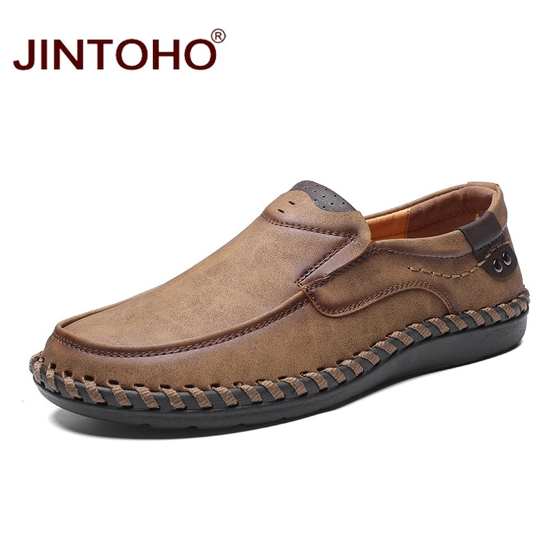 JINTOHO Fashion Brand Men Shoes Men Genuine Leather Shoes Casual Men Shoes Male Leather Shoes Slip On Men Loafers 1
