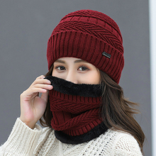 Winter Ladies New Korean Version of Noble Knit Hats Autumn and Cycling Ski Cold Women Models Plus Velvet Warm Wool Cap Ms