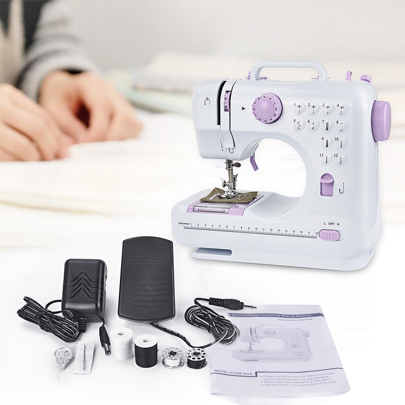 Mini Stitches Sewing Machine Household Multifunction Double Thread And Speed Free-Arm Crafting Mending Machine