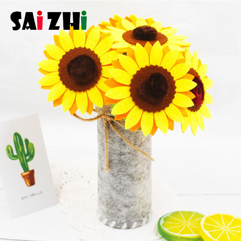 Saizhi Diy Non-woven Flower Pots Handmade Cloth Diy Material Package Cultivation Simulation Flower Decoration Toys Gifts
