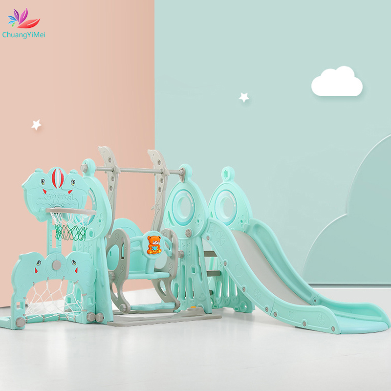 5 In 1 Baby Slides And Swing Chair Basketball Stand Story Home Kids Playground Plastic Slides Toy Indoor Music Learning Machine