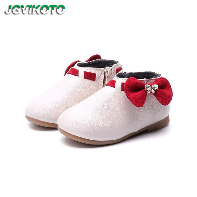 Princess Girls Winter Boots Kids Ankle Boots With Bow knot Bowtie Sweet Children Cotton Boots Soft Cute Toddlers Girl Boots New|Boots| |  - title=