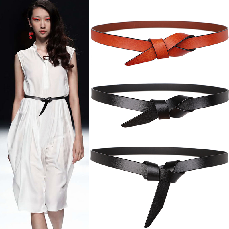 High Quality Long Fashion Soft Waist Belts Ladies Real Leather Knotted Belt Women Dress Accessories Genuine Cow Party Waistbands