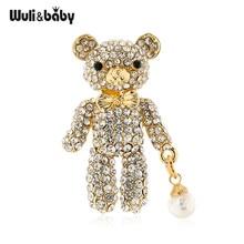 Wuli & baby-broches brillantes de oso con diamantes de imitación para mujer, broche de Navidad, fiesta, oficina, regalos