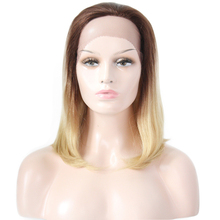 Ombre Brown Blonde Straight Human Hair Wigs Free Part Euphoria Brazilian Short Bob Lace Front 613 Wig For Black Women Remy Hair