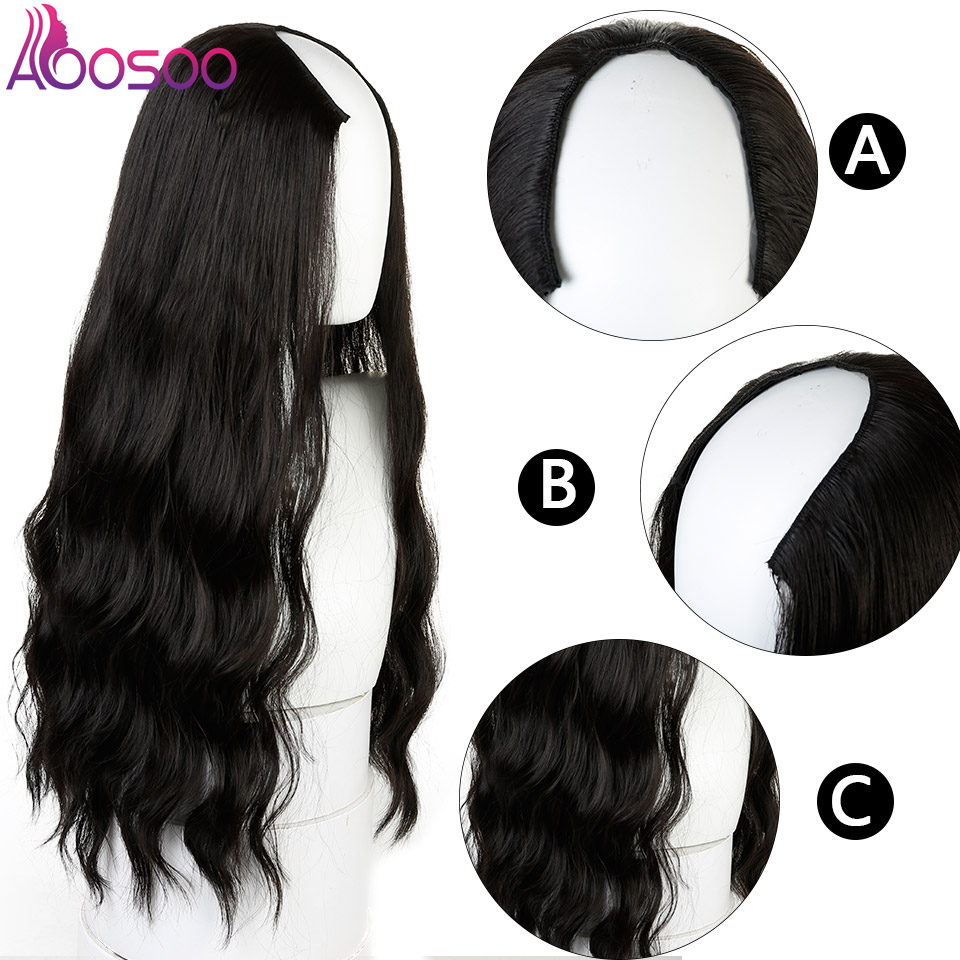 """Long Wavy Culry U-Shaped Half Wig for Women 24"""" Natural Female Long Black Brown Wigs Heat Resistant Synthetic Fake Hair 2"""