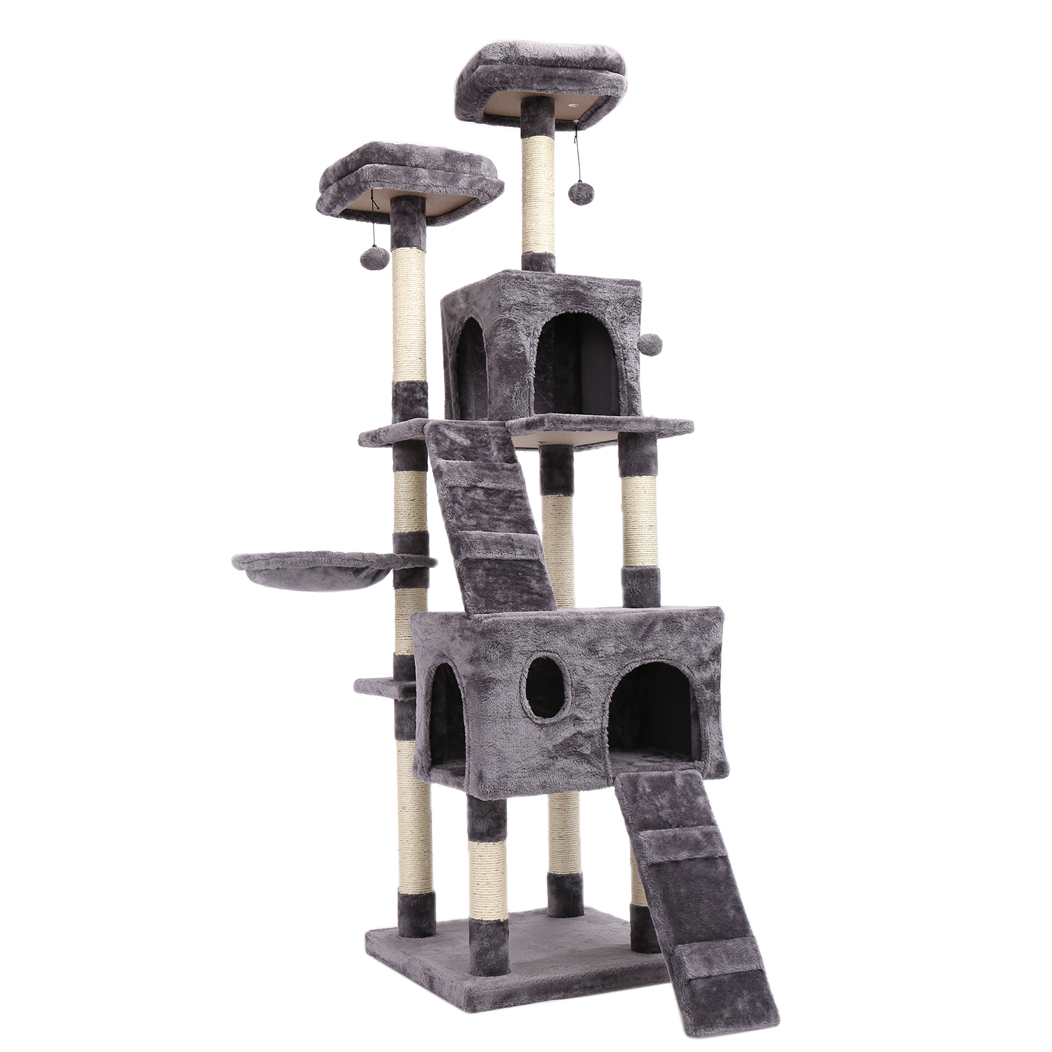 Fast Delivery <font><b>Large</b></font> <font><b>Cat</b></font> <font><b>Tree</b></font> Tower Condo Furniture Scratching Post Pet Kitty Play House with Hammock Perches Platform image