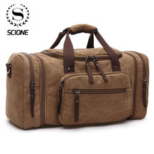 Scione Men Travel Bags Canvas Carry On Luggage Multifunction Leather Bags Weekend Bags Men Duffel Bag Large Capacity Tote